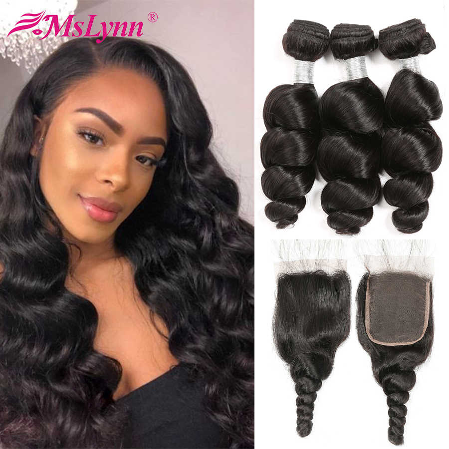 Mslynn Loose Wave Bundles With Closure Brazilian 3 Bundles With Lace Closure Remy Human Hair Bundles With Closure Hair Extension