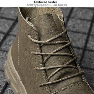 Image 4 - Botas Vintage estilo británico para hombre Botas de otoño para hombre al aire libre de cuero genuino a prueba de agua botas de tobillo de invierno para senderismo