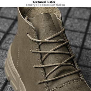 Image 4 - British Style Vintage Men Boots Crazy Genuine Leather Outdoor Men Autumn Boots Water Proof Work Hiking Winter Ankle Boots Shoes