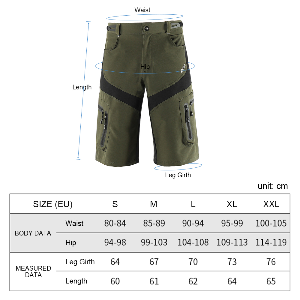 Quick Drying Breathable Cycling Shorts Outdoor Sports Running Bike Riding Casual Shorts with 6 Pockets Men