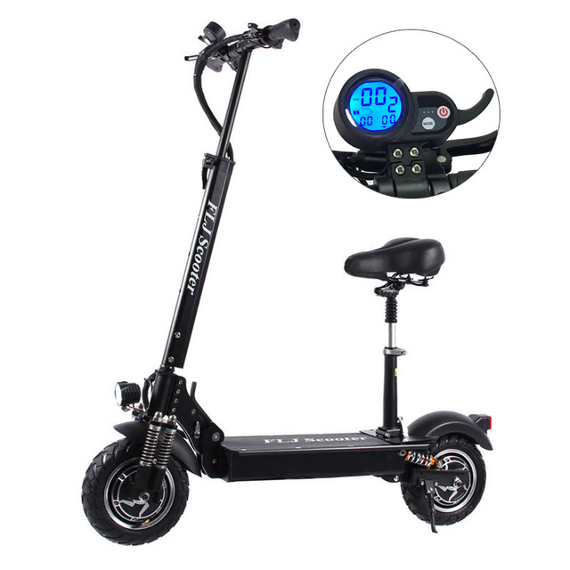 Flj 2400w adulto scooter elétrico com assento dobrável hoverboard pneu gordura kick scooter elétrico e scooter