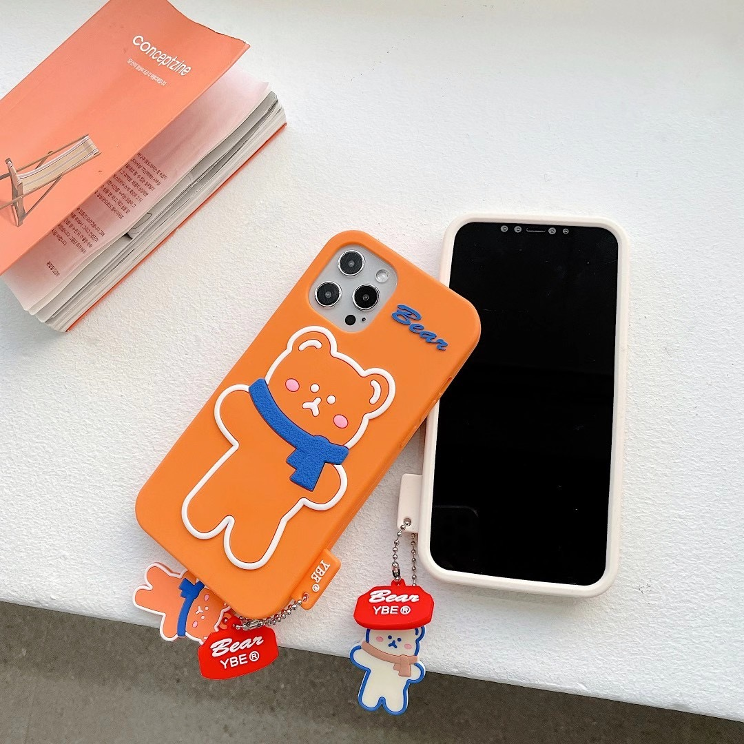 Silicone Soft Brunch Bear With Scarf Phone Case For iphone6/6S 78 Plus X/XS MAX 11/12Pro/SE Buy One Get Correspondent Ring Free 2
