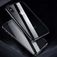 高級ケース Apple の Iphone XS 最大 XS × XR 7 8 プラス 360 フル保護ケース磁気強化ガラスアルミ金属ケースカバー