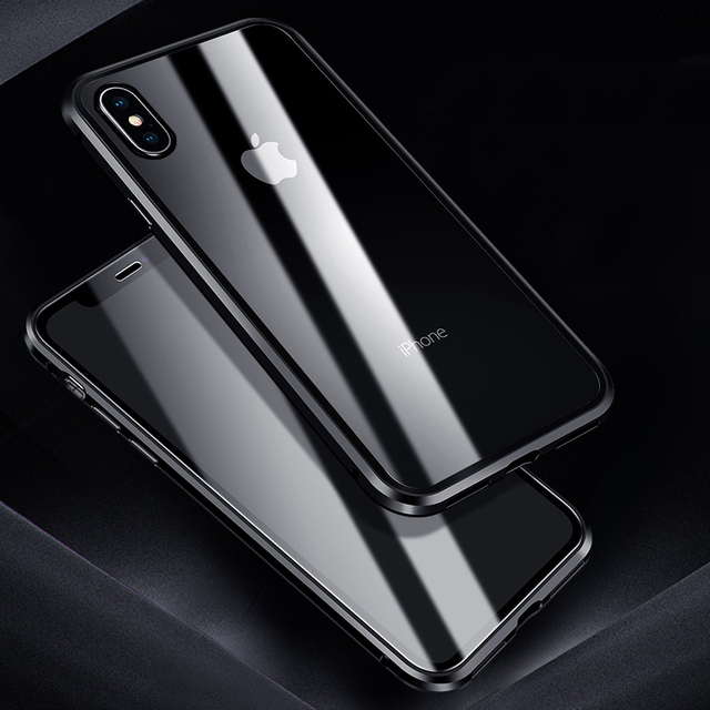 Luxury Case For Apple iPhone XS MAX XS X XR 7 8 Plus 360 Full Protection Case Magnetic Tempered Glass Aluminum Metal Case Cover