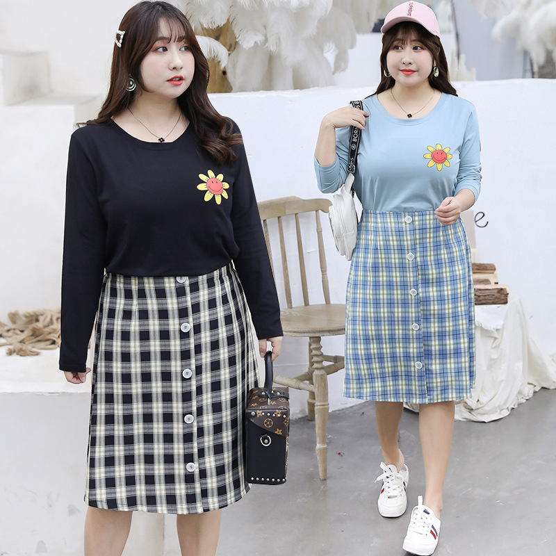 [Xuan Chen] Large GIRL'S Large Size Dress Wholesale 2019 Autumn New Products Long Sleeve Two-Piece Set Sunflower Set 6942