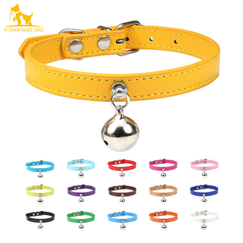 16 Colors Solid Leather Cat Collar With Bell Puppy Neck Strap Safety Kitten Collars Chihuahua Necklace Cat Accessories XS/S/M