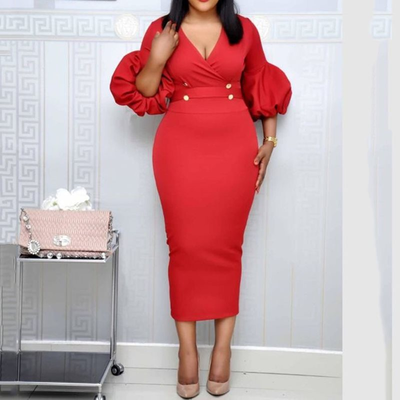 Sexy Red Lace-Up Three-Quarter Sleeve Bodycon Dress African Women High Waist Tunic Elegant Party Office Vintage Midi Dresses