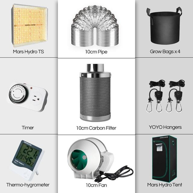 Mars Hydro TS 1000W Full Spectrum LED Grow Light 70x70x160 cm Indoor Tent Grow Kit 5
