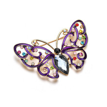 Insect Animal Crystal Vintage Butterfly Brooches for Women Large Brooch Pin Fashion Dress Coat Accessories Cute Jewelry