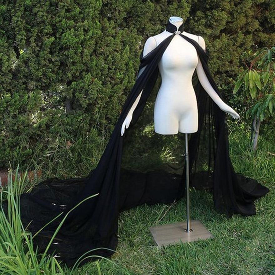 Black chiffon Cape Elegant  Bride Warps  Evening Dress Coat Women Bolero Wedding accessories Bride cloak Long Cape Elf dress up