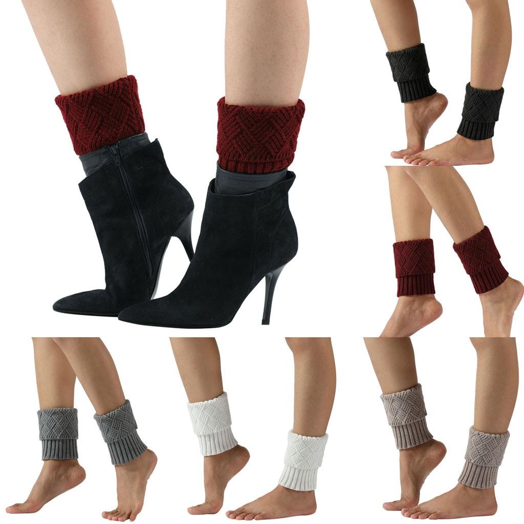 Knitted Women Leg Warmers Fall Winter Warm Cover Leggings Kneepad Crochet Grey White Black Compression Ladies Boot Leg Warmer