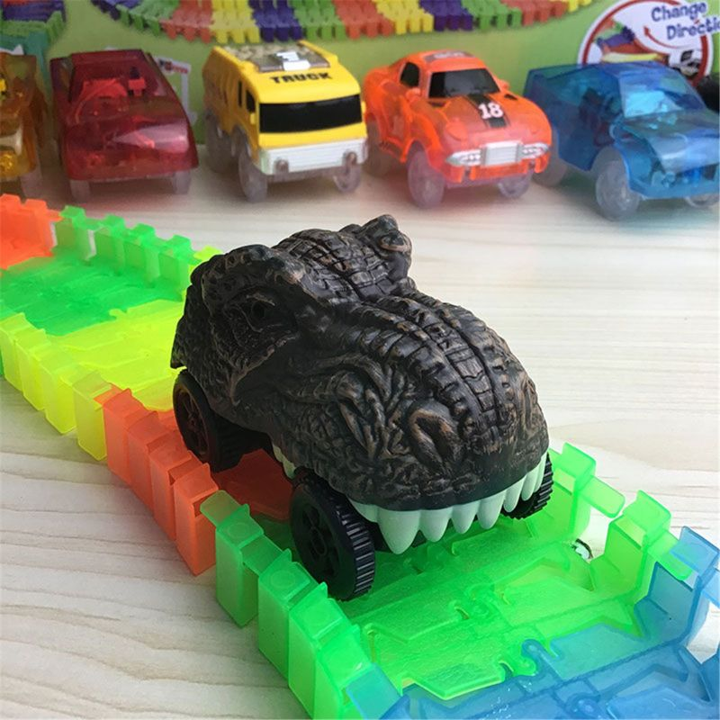 Dinosaur Track Cars Compatible With Magic Tracks And Neo Tracks Light Up Racing Track Accessories With 3 Flashing LED Lights