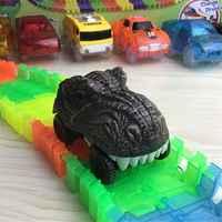 Dinosaurier Track Autos Kompatibel mit Magie Tracks und Neo Tracks Licht Up Racing Track Zubehör mit 3 Blinkende Led-leuchten