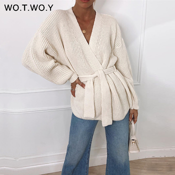 WOTWOY Sexy V-neck Knitted Cardigan Women Autumn Winter Long Sleeve Cropped Kimono Cardigans Female Solid Oversized Jumper 2020