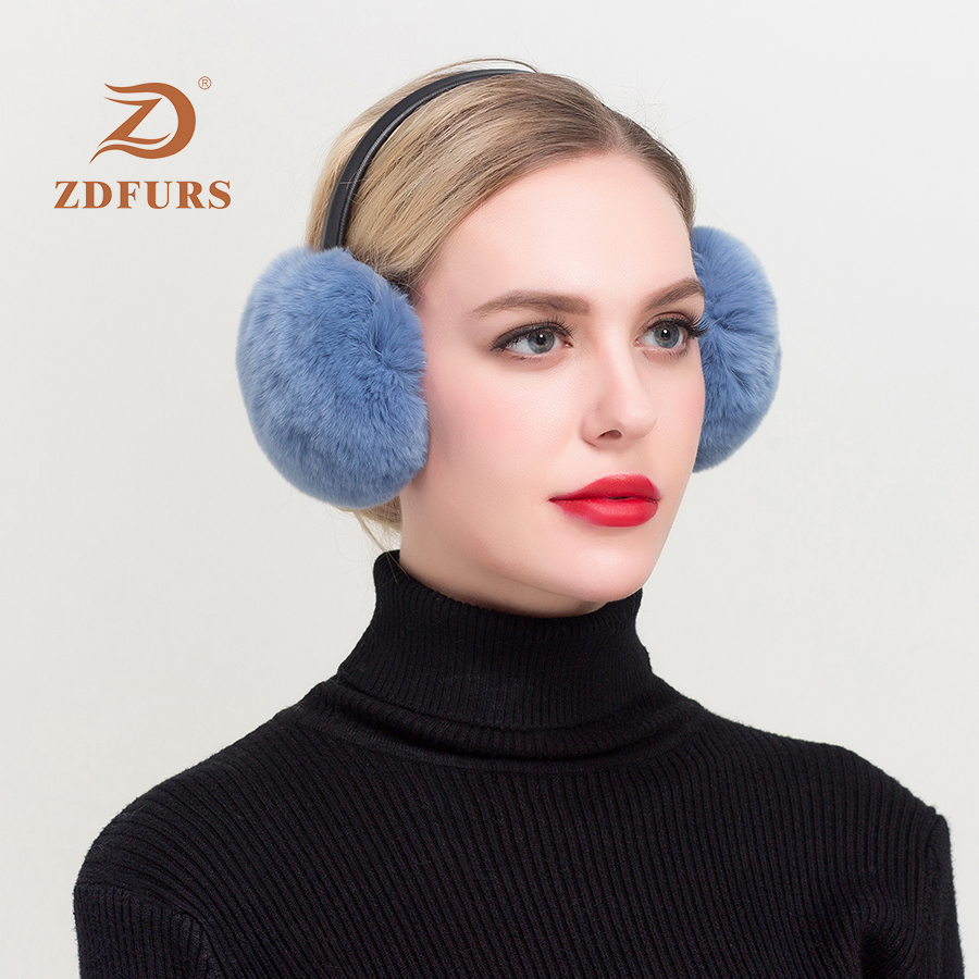 ZDFURS*New Autumn And Winter New Rex Rabbit Fur Earmuffs Warm Fur Earmuffs Cute Deaf Real Fur Earmuffs