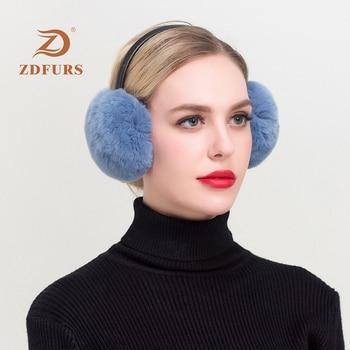 ZDFURS*New Autumn and winter new rex rabbit fur earmuffs warm fur earmuffs cute deaf real fur earmuffs цена 2017