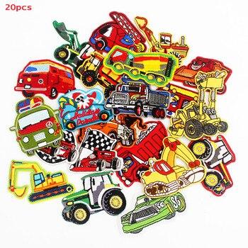 20 piezas un lote de bonitos parches pequeños para autobús, coches y camiones, insignias de dibujos animados para planchar para niños, camisetas, pegatinas para coser, parches DIY