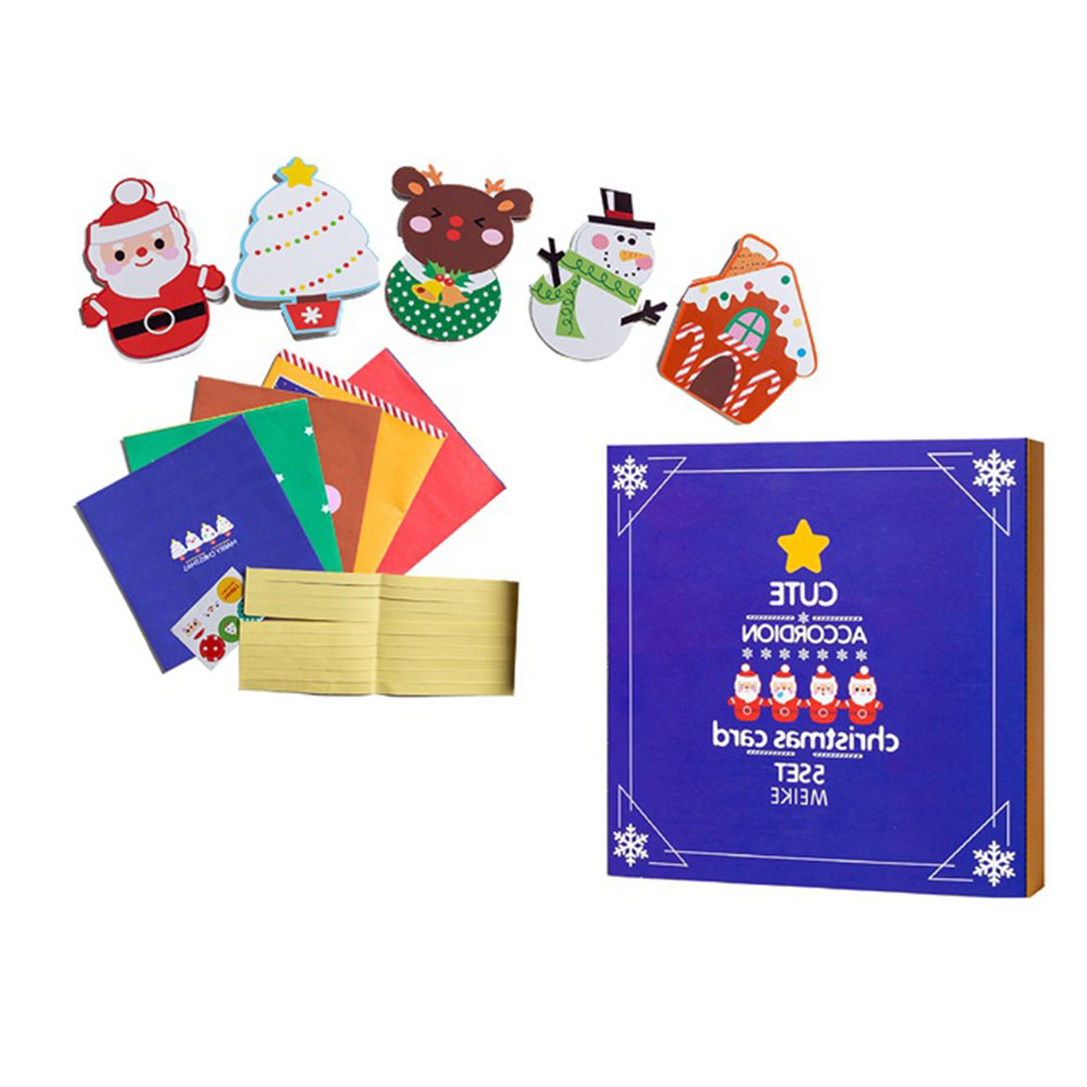 Christmas Handmade DIY Toy Mini Santa Claus Merry Christmas Tree Paper Greeting Postcards Wishes Craft Toy Gift Festival Cards