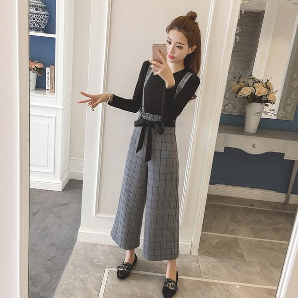 Casual Office Lady Style Two Piece Sets O-Neck Solid Basic Long Sleeve Tops High Waist Plaid Bow Tie Up Suits