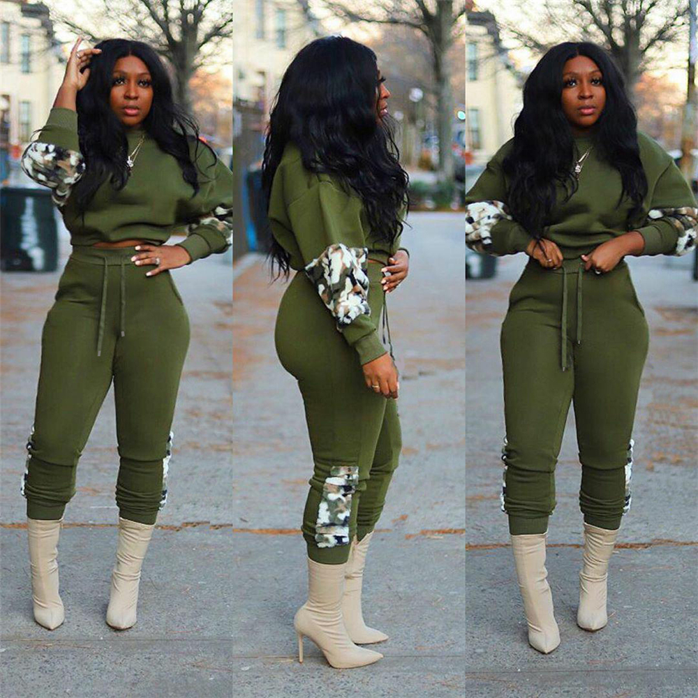 Tsuretobe Winter Patchwork Tracksuits Women Two Piece Set Long Sleeve Pullover Tops And Pencil Pants Suits Green Outfits Female