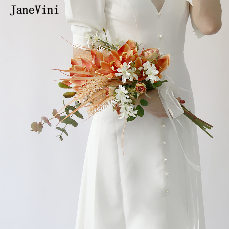 JaneVini Romantic Orange Orchid Eucalyptus Bridal Silk Bouquet Artificial Wedding Roses Flowers Korean Style Bride Bouquet Marie