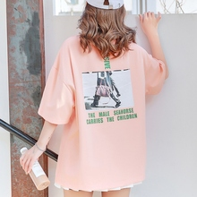 2019 Women Summer Hot Comfortable Soft Round Collar Cartoon Print Loose Short Sleeve Casual Hem Split T-Shirt Simple Wild Tops цена