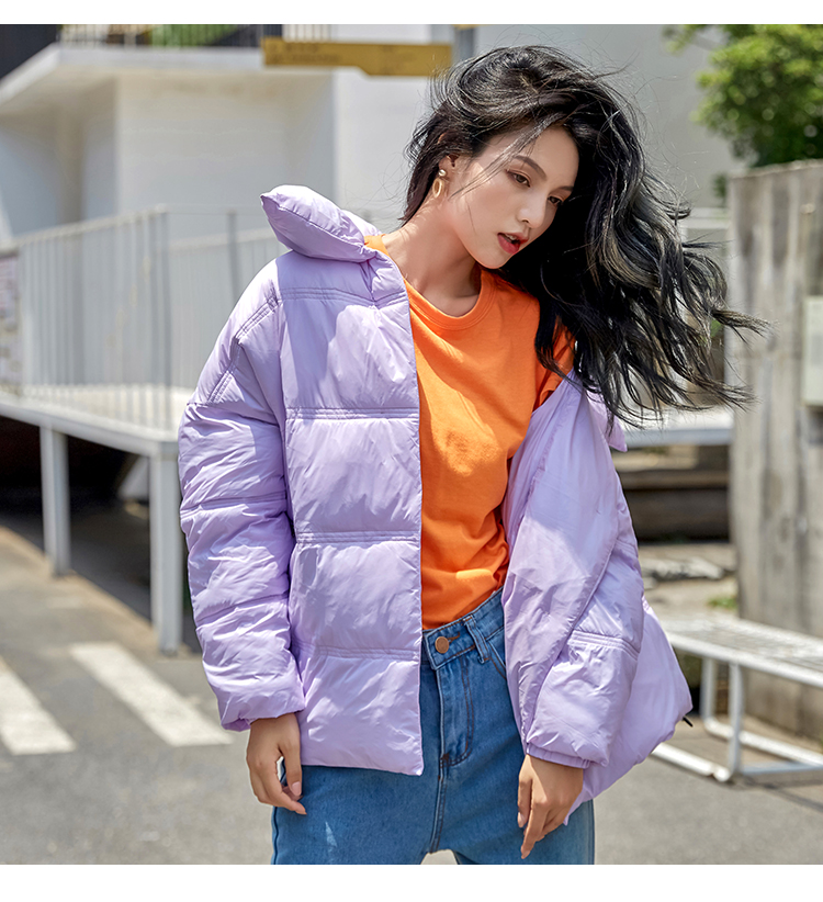 Women down jacket warm bread coats loose candy color cotton padded jacket wadded jackets winter female casual   parka   oversize