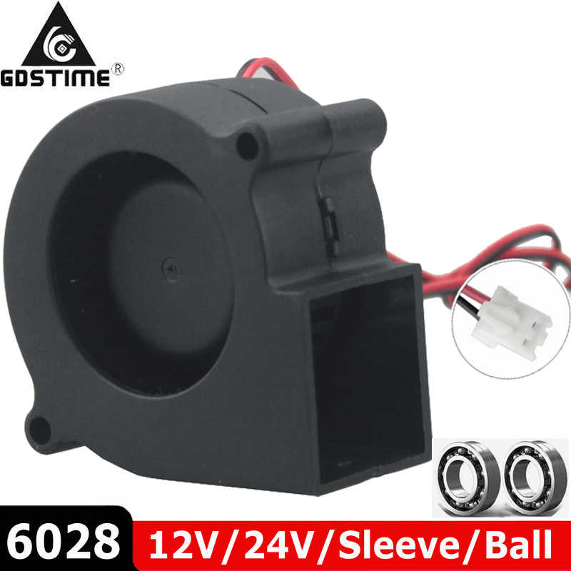 1 Pcs Brushless Cooler Cooling DC Centrifugal Blower Kipas 60 Mm 12V 24V 2Pin 60X28 Mm 6028 6 Cm Lengan Bola Ganda Heatsink Radiator