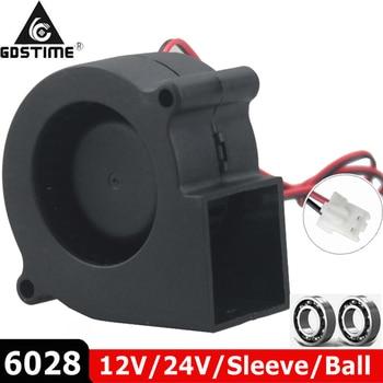 1PCS Brushless Cooler Cooling DC Centrifugal Blower Fan 60mm 12V 24V 2Pin 60x28mm 6028 6cm Sleeve Dual Ball Heatsink Radiator 1pcs dual ball 60mm 6cm 60x60x25mm ec brushless fan ac 110v 115v 120v 220v 240v axial fan 6025 industry cooler