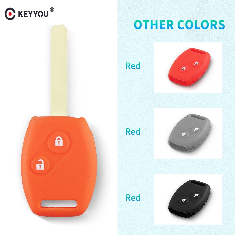 KEYYOU Стильный силиконовый чехол для ключей с 2 кнопками для Honda CR-V Civic Fit Freed StepWGN Key