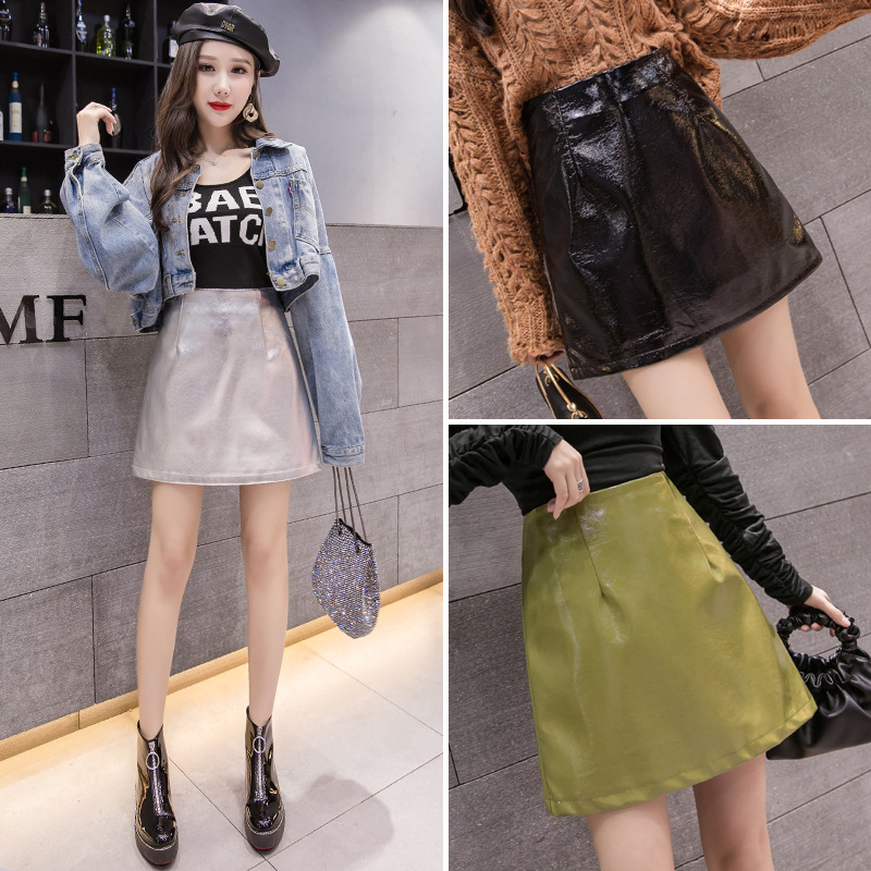 PU Leather Short Skirt Women's Autumn And Winter High-waisted INS Super Fire Silver Small Leather Skirt A- Line Skirt Pants Shea