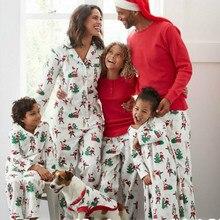 Забавный принт с рождественским лосем, топы с длинными рукавами и круглым вырезом, рождественские штаны с принтом, Семейные пижамы, повседневные рождественские пижамные наборы