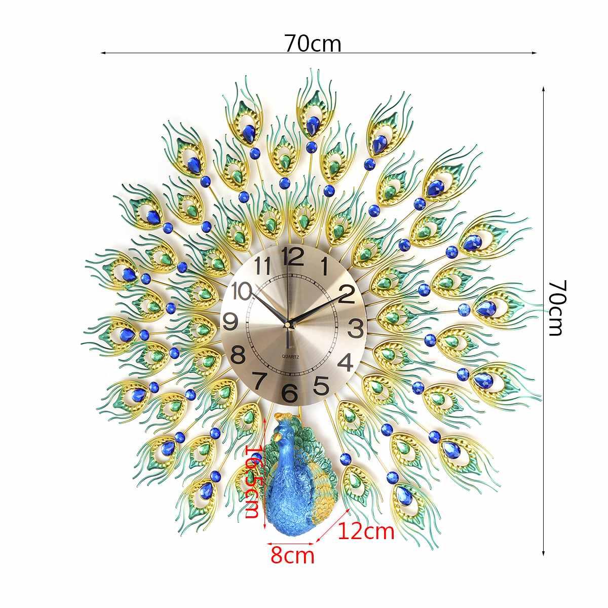70x70cm bricolage 3D grand paon horloge murale en métal cristal diamant horloges montre ornements maison salon décoration artisanat cadeau - 3