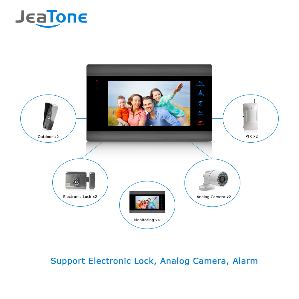 Купить с кэшбэком Home Intercom Video Door Phone System 7 inch LCD Monitor with 1200TVL Silver Doorbell Camera Door Release Unlock Night Vision