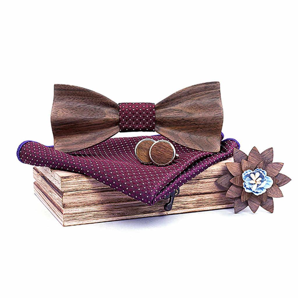 رابطة خشبية يدوية منديل مجموعة الرجال ربطة خشب جوفاء منحوتة و صندوق ربطة القوس فيونكة ربطة العنق العلاقات للرجال Gravata Cravate Homme