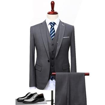 Size S-5XL ( Jackets + Vest + Pants ) Boutique High-end Brand Groom Wedding Dress Mens Stage Suit 3 Sets Men Business Suit Black