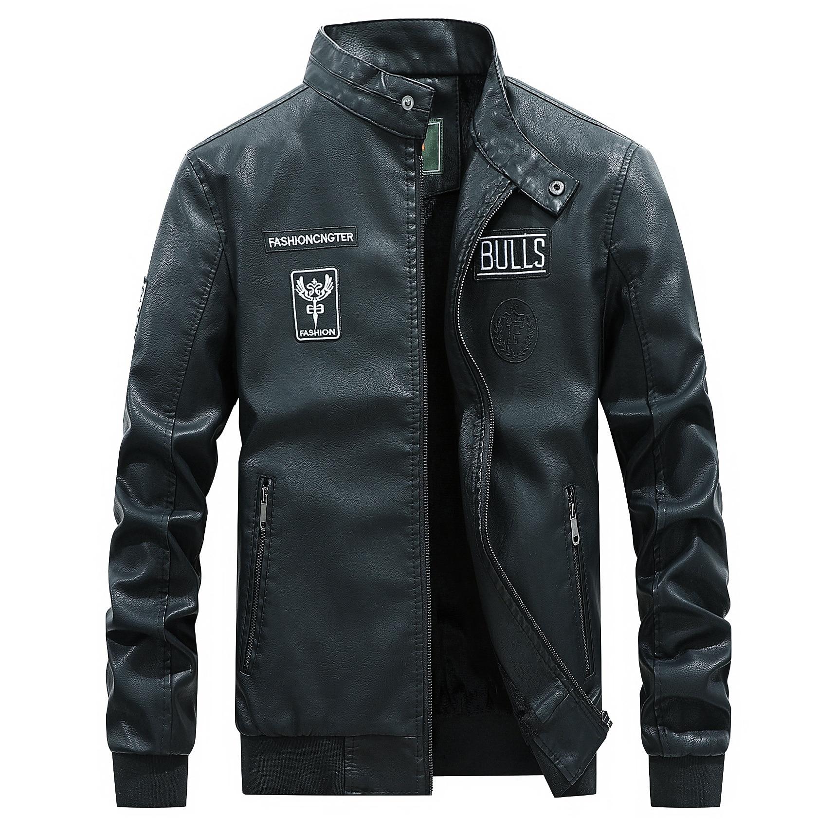 2019 New Men Fashion Causel Faux Leather Jacket  Pu Autumn coat Drop Shipping