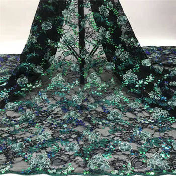 Green Nigerian Lace Fabric 2020 High Quality Sequined Lace Fabric Fashion Embroidered Tulle African French Lace Fabric 1761