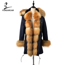 FURSARCAR 2019 New High Quality Hooded Real Fur Parka Coat For Women Rex Rabbit Thick Lining Fox Collar Cuff Female Jacket