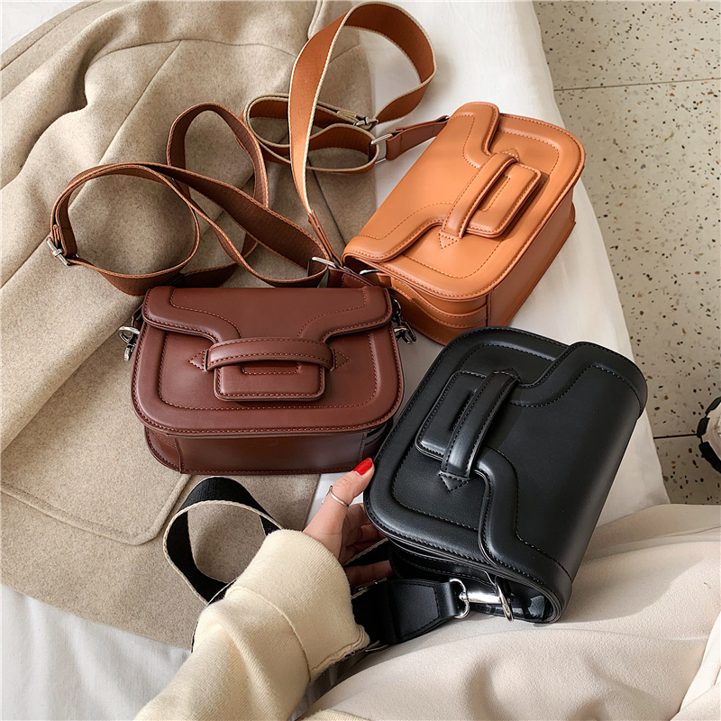 Texture Wide Shoulder Strap Bag Women 2019 New Korean Leisure Retro Shoulder Messenger Bag Joker Small Square Bag