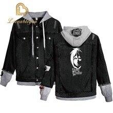 New Hooded Denim Jacket Womens Hoody Jackets Girls Hip Hop Street Casual Bomber Anime Harajuku Black Butler Fashion Coats