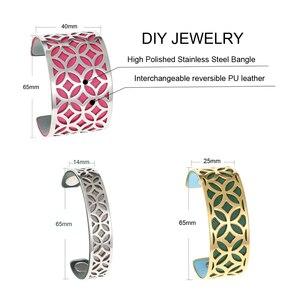 Image 2 - Cremo Arm Manchet Armbanden & Bangles Voor Vrouwen Sieraden Rvs Armband Manchette Verwisselbare Lederen Band Pulseiras