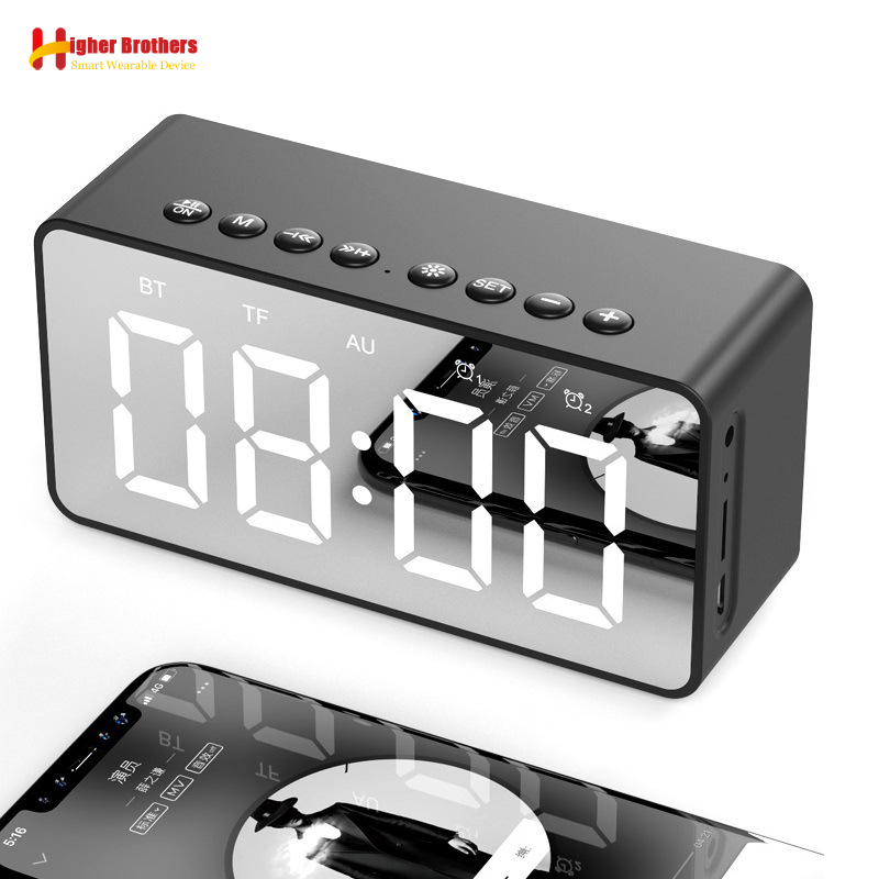 Altavoz portátil con Bluetooth, Altavoces estéreo con Subwoofer Inalámbrico Supergraves, compatible con reloj despertador con espejo auxiliar TF para teléfono y ordenador Altavoces portátiles    - AliExpress