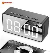נייד Bluetooth רמקול סופר בס אלחוטי סאב סטריאו רמקולים תמיכה TF AUX מראה שעון מעורר עבור טלפון מחשב