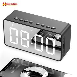 Image 1 - Портативная Bluetooth колонка с супербасами, беспроводной сабвуфер, Стереодинамик с поддержкой TF, AUX, зеркальный будильник для телефона, компьютера