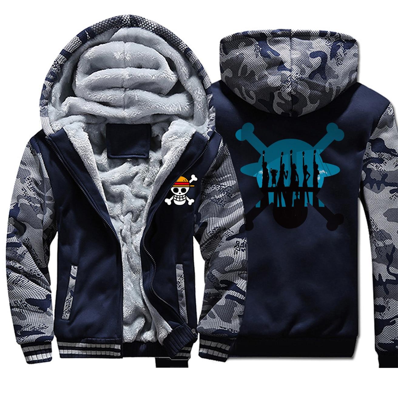 2019 New Winter Luffy Coat Thick Hoodies Japan Anime One Piece Sweatshirts Men Funny Camouflage Warm Clothing Raglan Streetwear