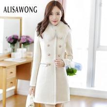 Medium long slim wool coat women slim Double-breasted white coats ladies elegant