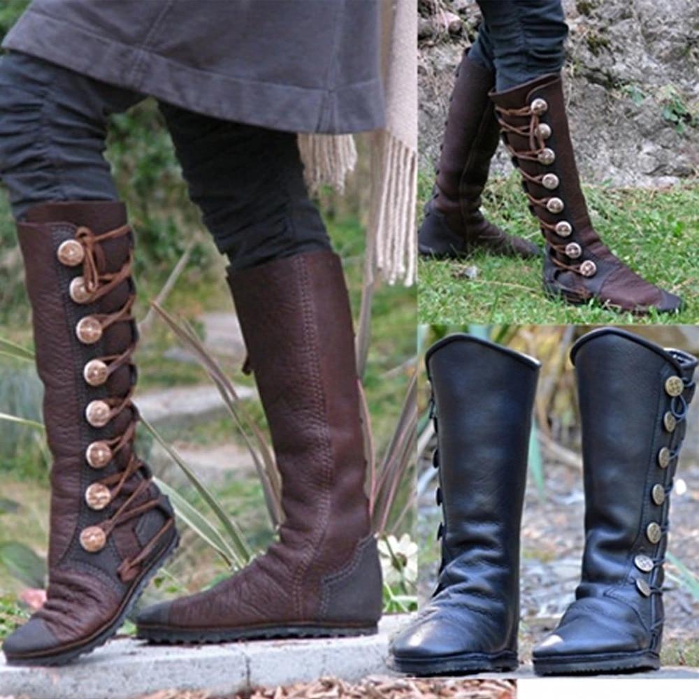 Bottes hautes au genou LASPERAL femmes bout rond bottes bouton automne hiver bottes en cuir PU bottes Vintage femme Botas plates Mujer