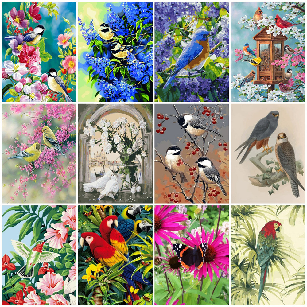 HUACAN Painting By Numbers Animal Kits Drawing Canvas HandPainted Flower Bird Picture DIY Art Home Decoration Gift