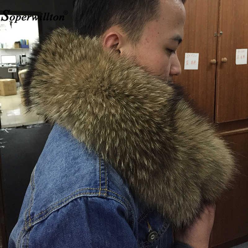 Inverno 100% Reale Naturale Collo di Pelliccia Parka Cappotti di lusso della Protezione del Collo Caldo Naturale Procione Sciarpa Donne di Grandi Sciarpe di Pelliccia di Sesso Maschile giubbotti